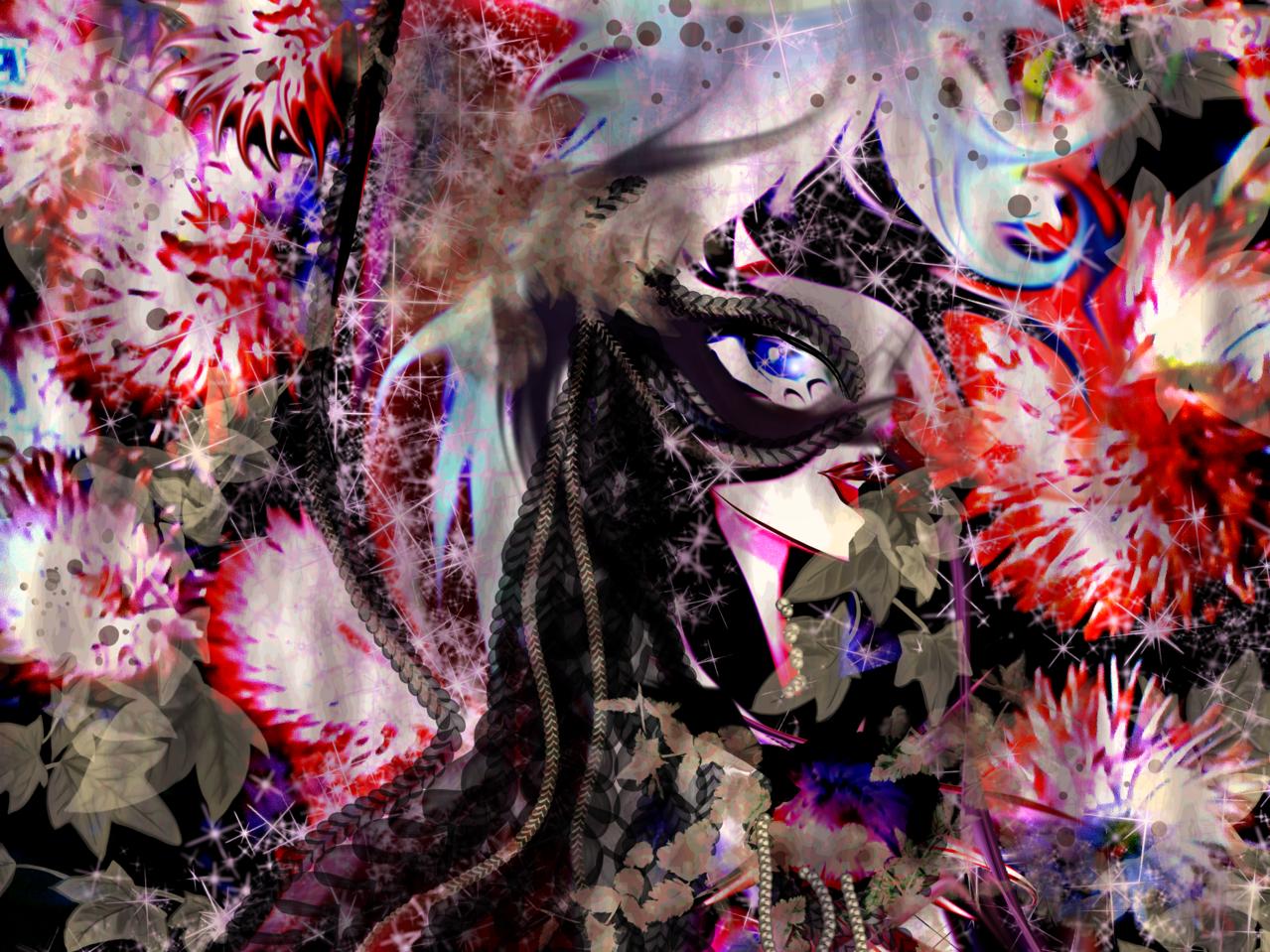 Behind the mask Illust of Grandicelli Susanna June2021_Anthropomorphism fiori anime FreeBrush maschera digitale