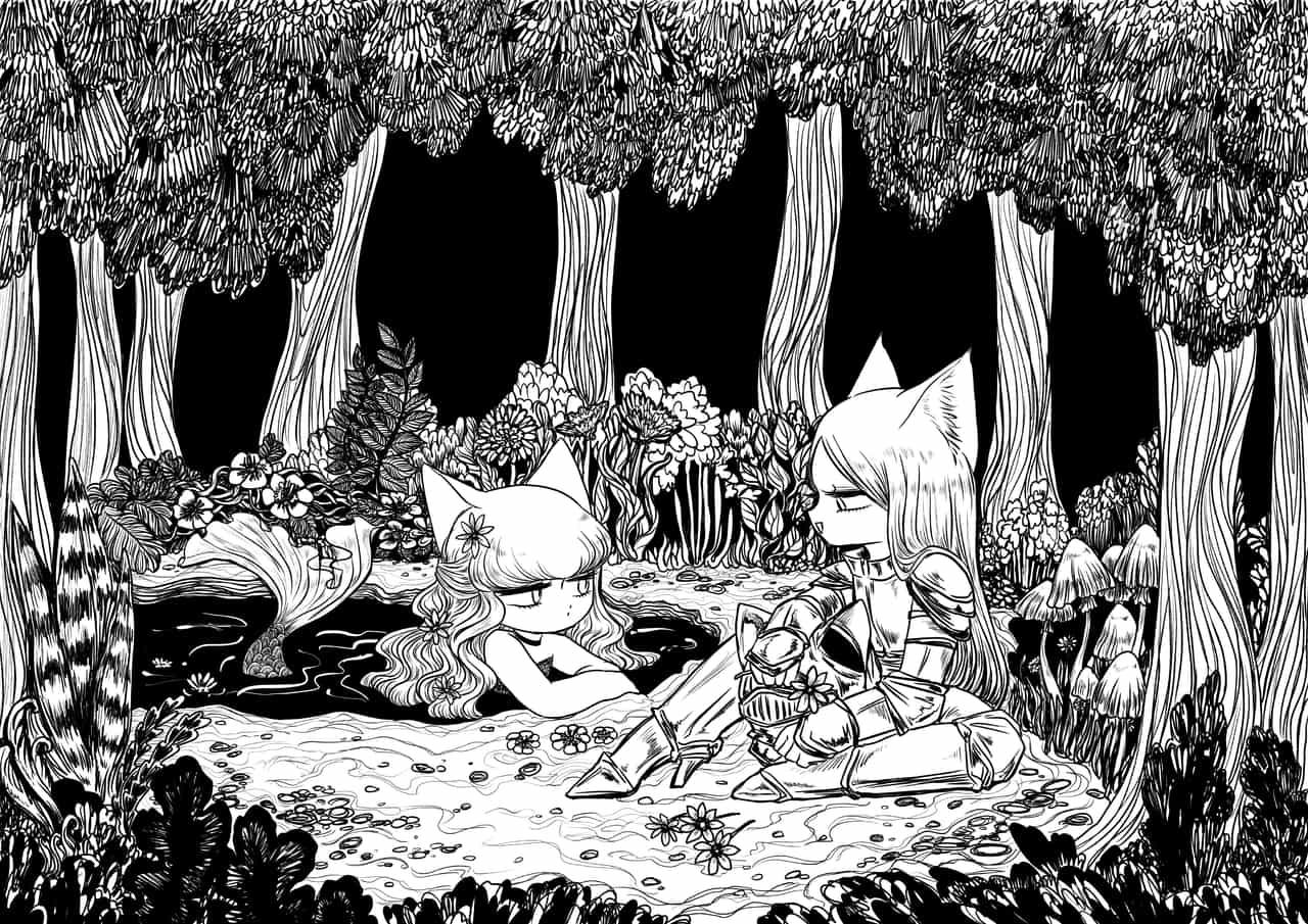 銀の鎧 Illust of aneko February2021_Fantasy cat_ears original girl 女の子イラスト monochrome medibangpaint gothic mermaid