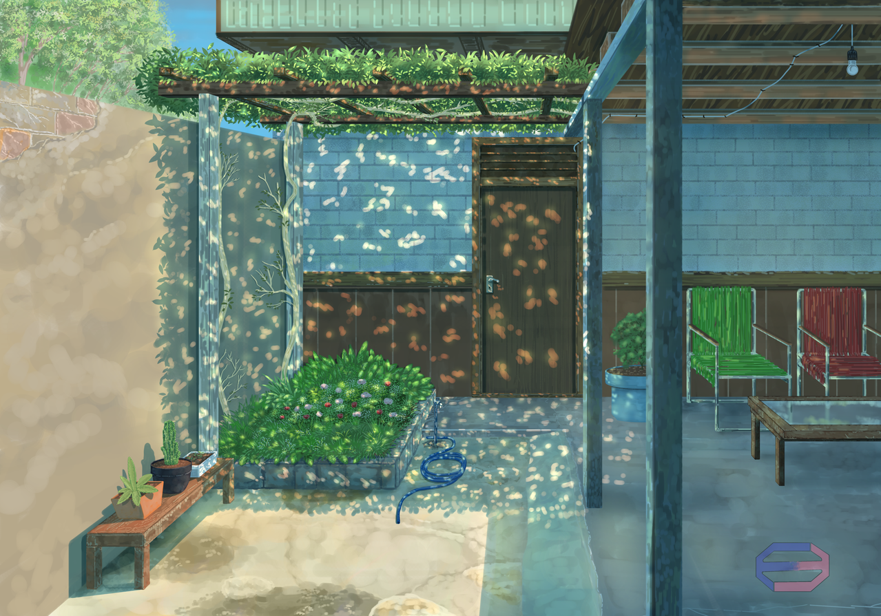 Backyard Illust of Edwin Dee scenery anime landscapes background animelandscape