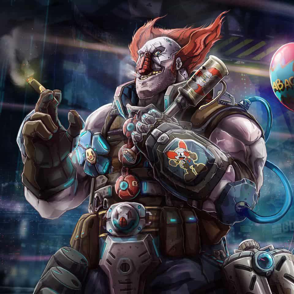OZOB  Illust of Ricardo Mango cyberpunk rpg nercast clown