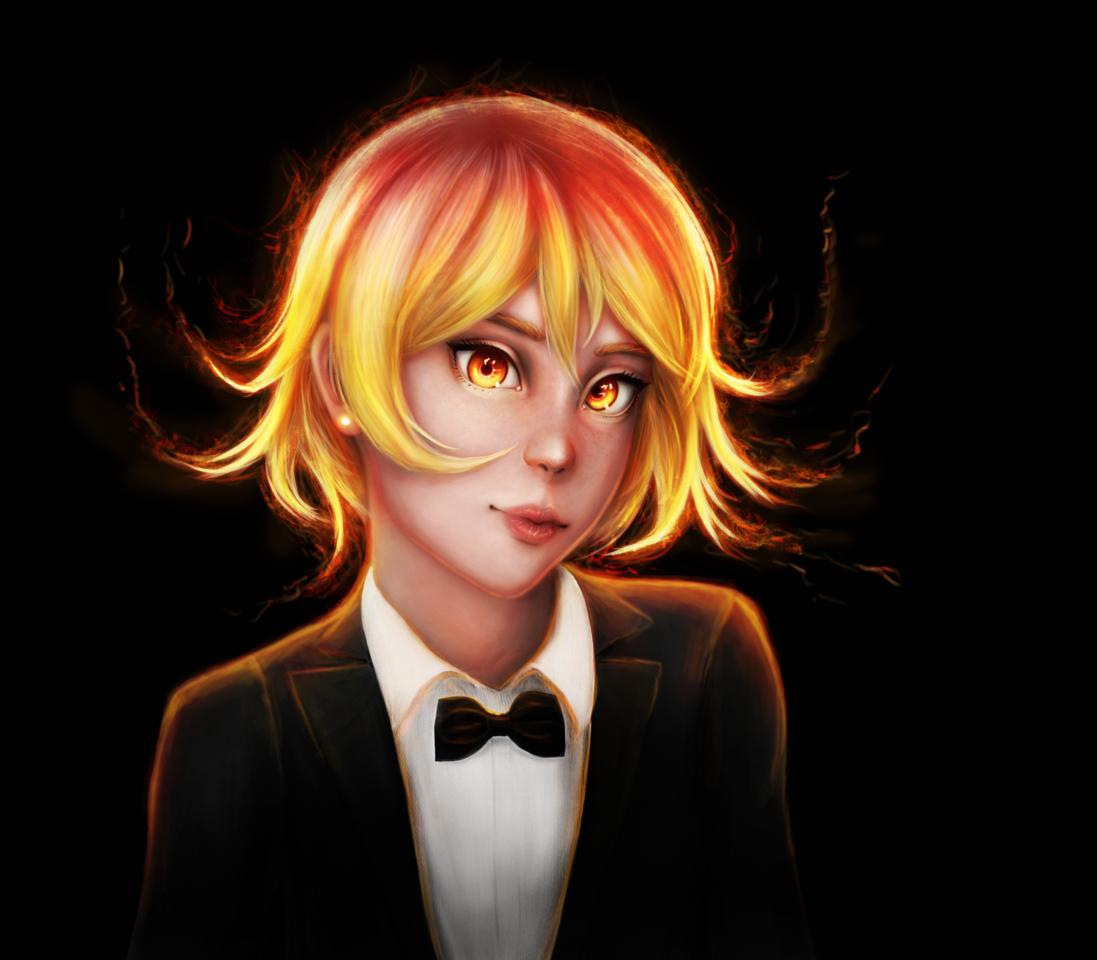 Fire Girl Illust of llorddd January2021_Contest:OC semirealism girl realistic