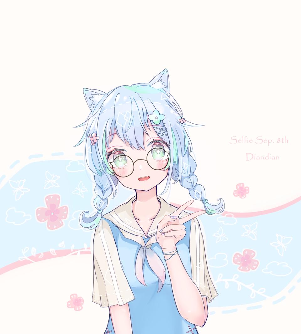 うちの子 Illust of Dianain glasses girl eyes original cat_ears うちの子 sailor_uniform oc doodle
