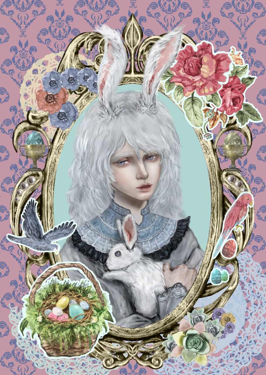 アンティークコラージュ風イースター Illust of 深海碧 March.2020Contest:Easter boy rabbit コラージュ風 卵 アンティーク birds うさ耳