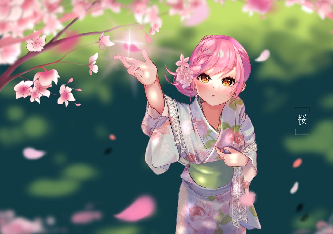 Magical Sakura Illust of rinrinsignal Kyoto_Award2020_illustration pink kimono anime illustration