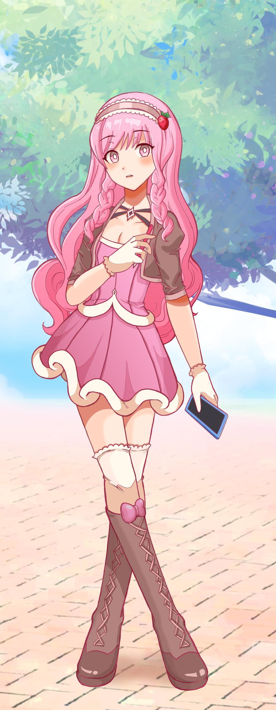 Pink Artist Illust of Lealie Rosa PASTEL_SKETCH2020 cute girl pink