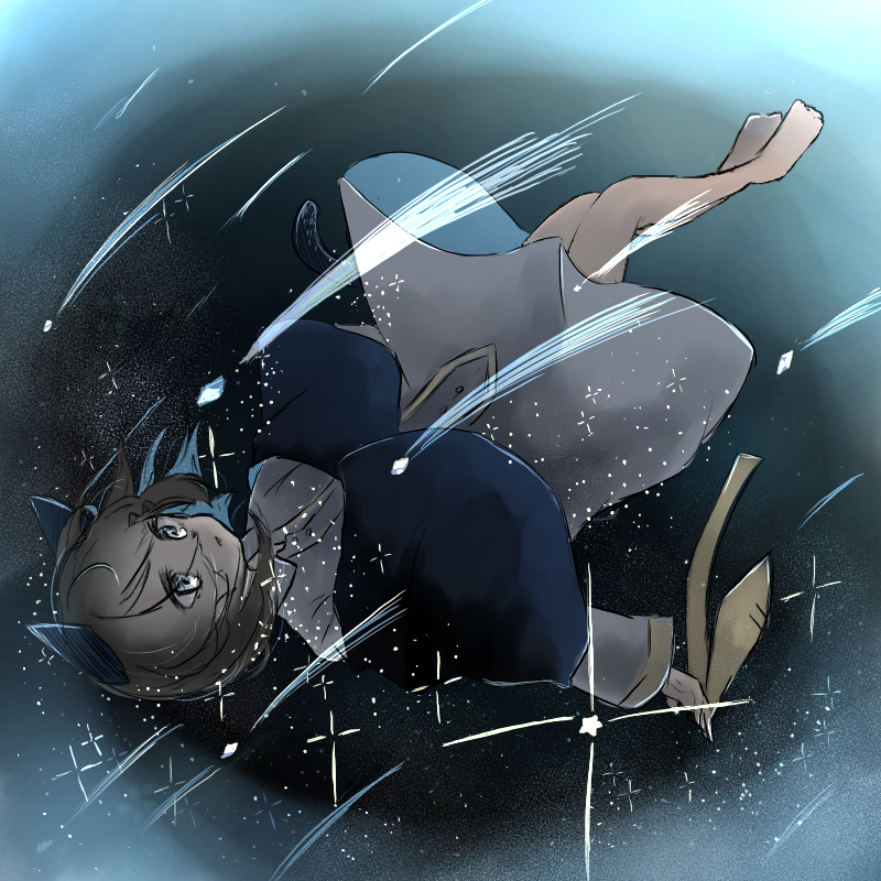 夜に落ちていく。 Illust of ト・リ・コ・ス・ケ night sky おえかき medibangpaint star