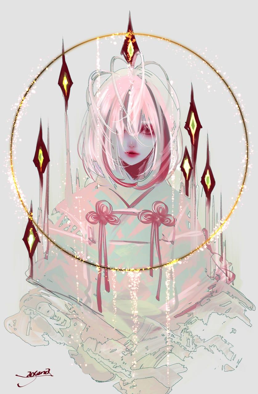 饐えた赤 Illust of 青砂時計 original Japanese_style ファンタジーキャラ oc 和風ファンタジー 和風女子 red