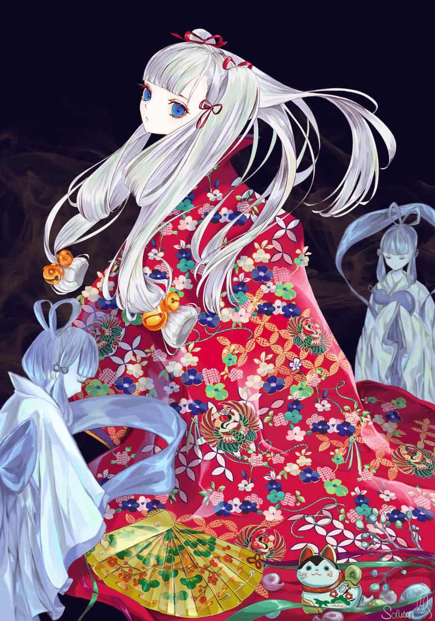 竹取物語 Illust of 画々市 Kyoto_Award2020_illustration portrait kimono white_hair girl