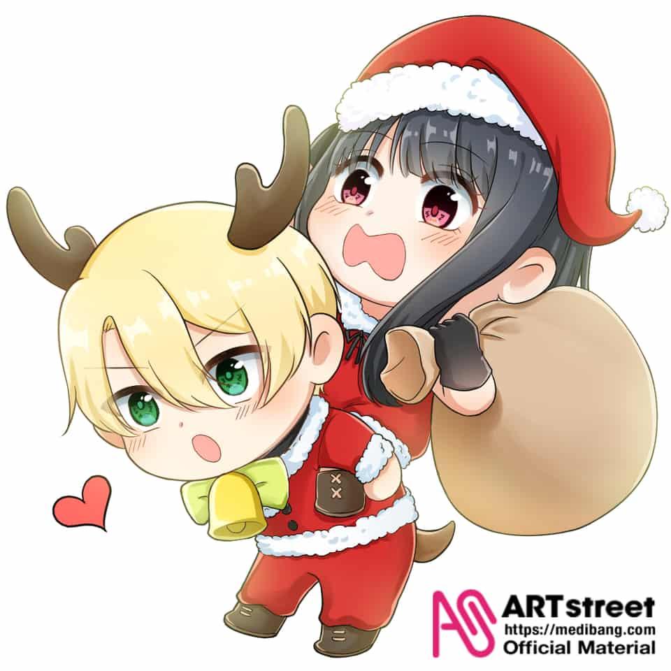 聖誕情侶~ Illust of YUKI tracedrawing Trace&Draw【Official】 角色 乙女 Christmas chibi 情侶