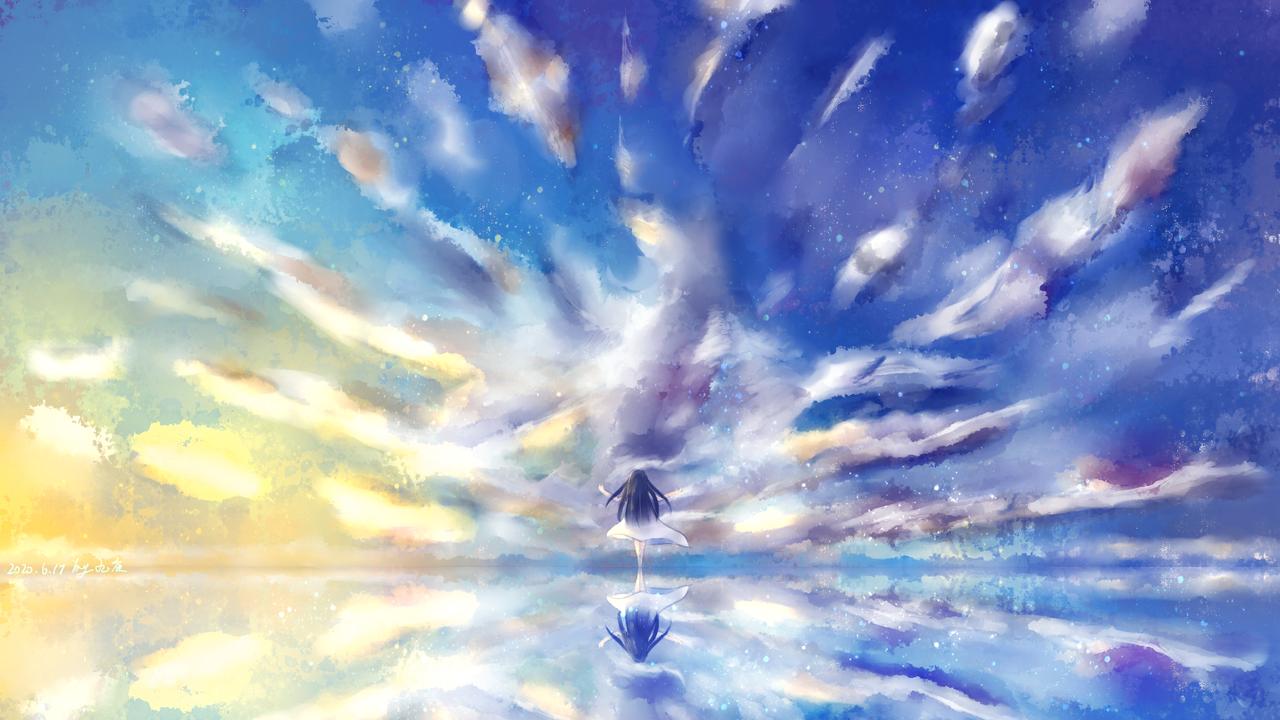 天空和女孩2 Illust of 九夜未央 medibangpaint clouds sky