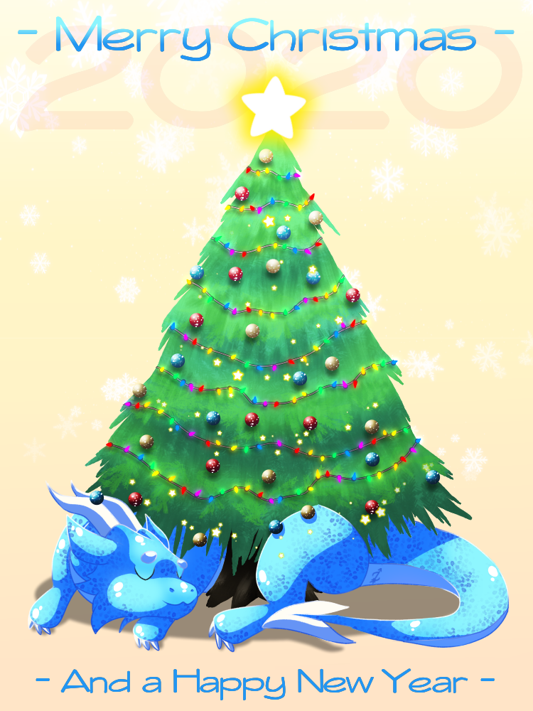 MERRY CHRISTMAS!!! Illust of Zyvra Dragonfyre medibangpaint 2020 dragon winter snow oc cute holiday Christmas furry