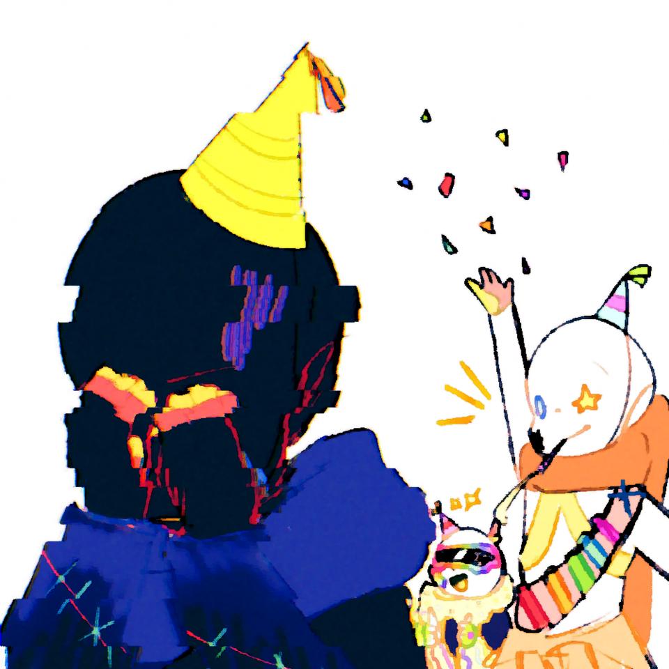 Error's birthday Illust of ✧・゚:* Fresh *:・゚✧ Ink!Sans undertale happyeasterbtw Error!Sans UndertaleAU Fresh!Ink