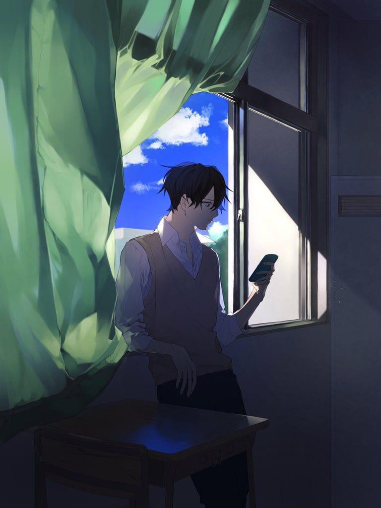 窓際 Illust of ひじろ 教室 original autumn boy
