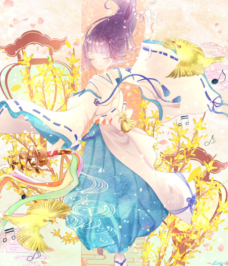 春告鳥と初音のうた Illust of なっしー April2021_Flower original Japanese_style 巫女 girl