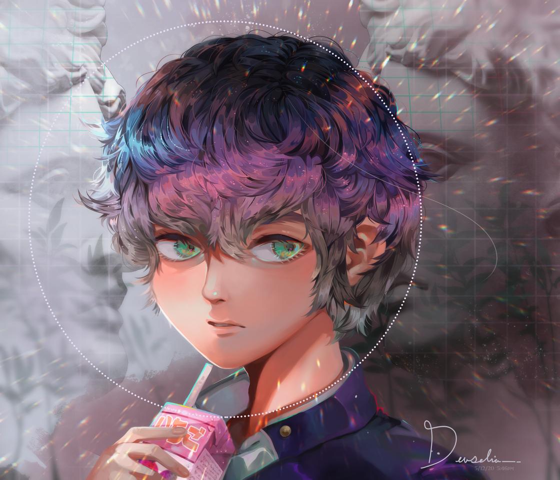 Sip Illust of Devselia drink original strawberrymilk drawing oc digital illustration MyArt purple boy