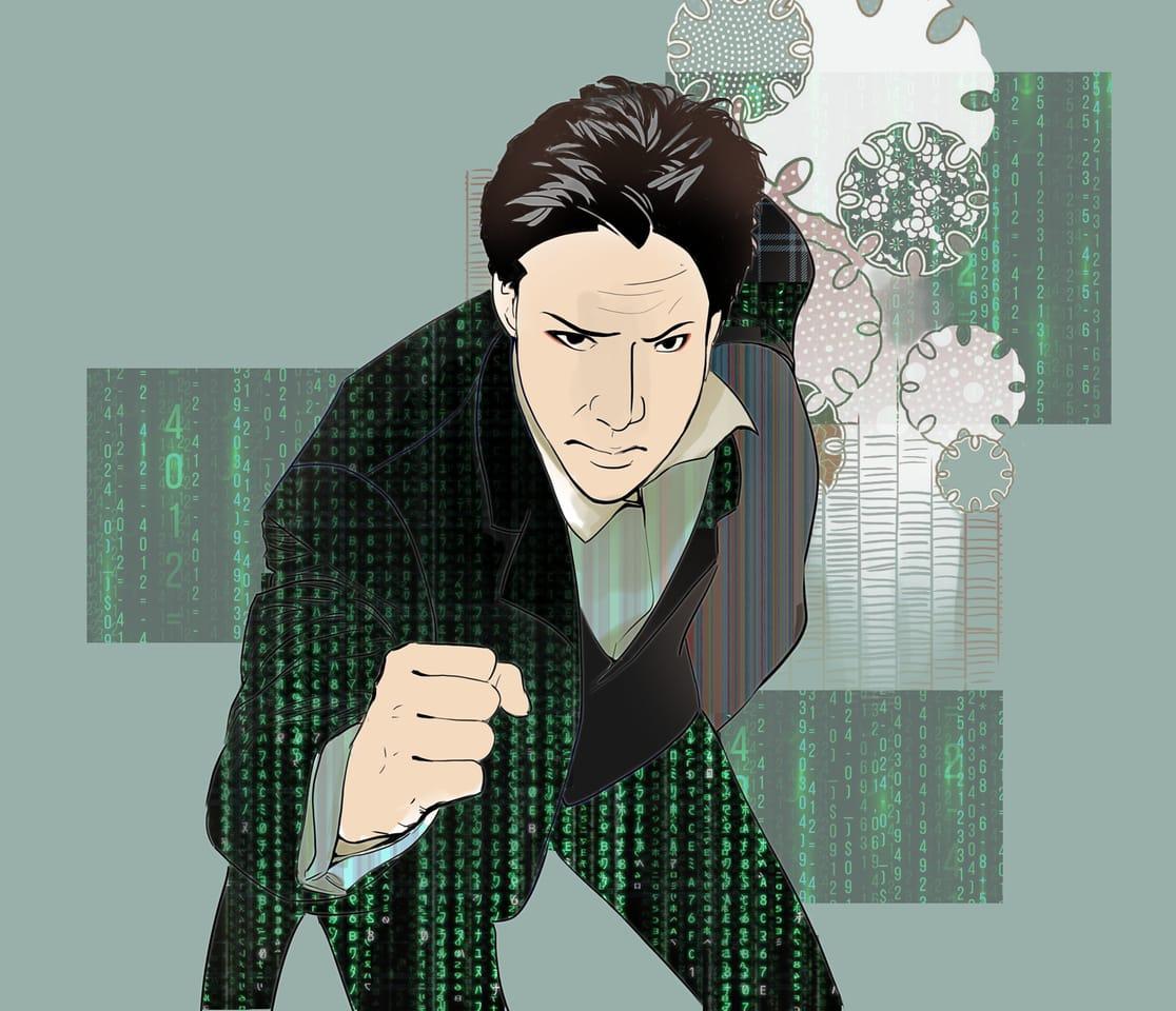 Matrix Sharaku style Illust of Lear MasterpieceFanart matrix fanart Neo art Sharaku Keanu.Reeves