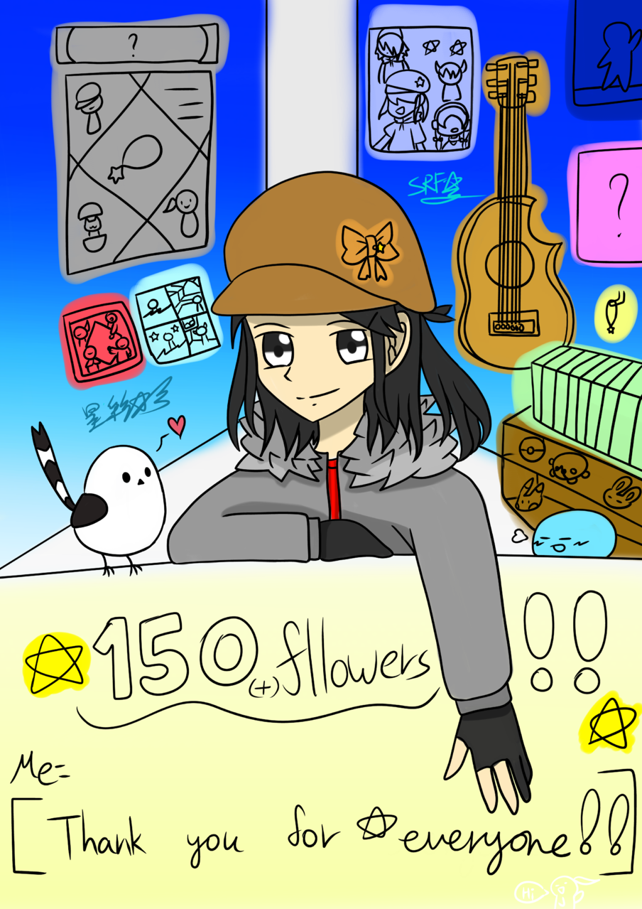 Thx for everyone(150 followers) Illust of 神祕的星彩star myself girl 訓練背景 特效blingbling 自創角色 訓練陰影 Thx
