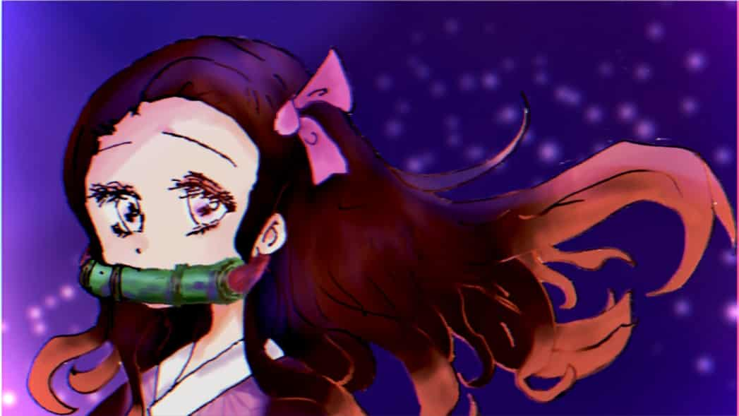 ヘッダーねずこ Illust of ねむこ@しばらくやすみ コメントはします 光 KamadoNezuko girl kawaii night おんなのこ fanart KimetsunoYaiba ロングヘア digital