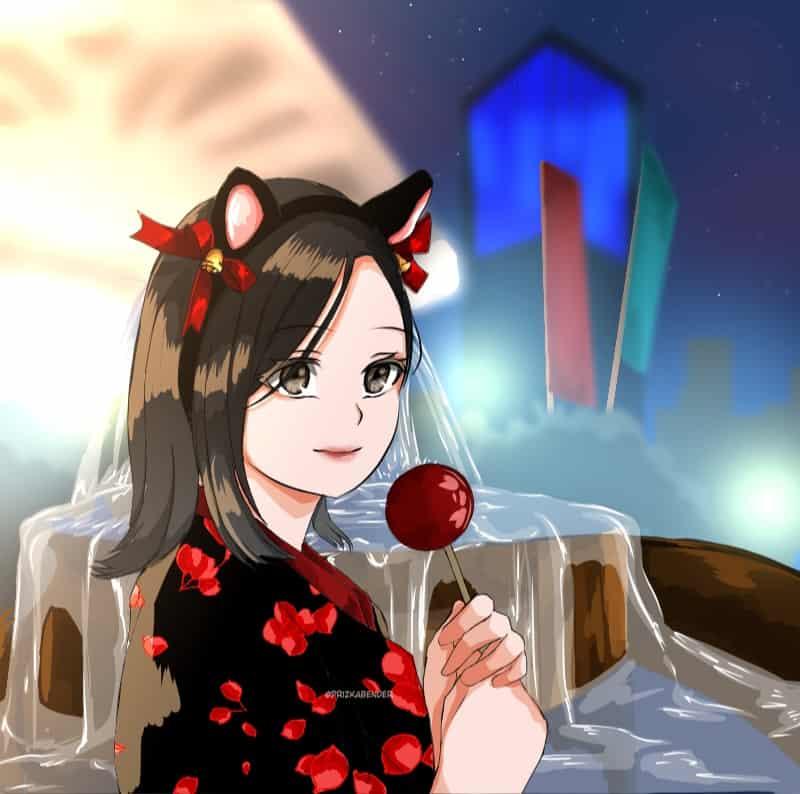 Ringo ame Illust of Prizka bender Artwork illustration yukata art