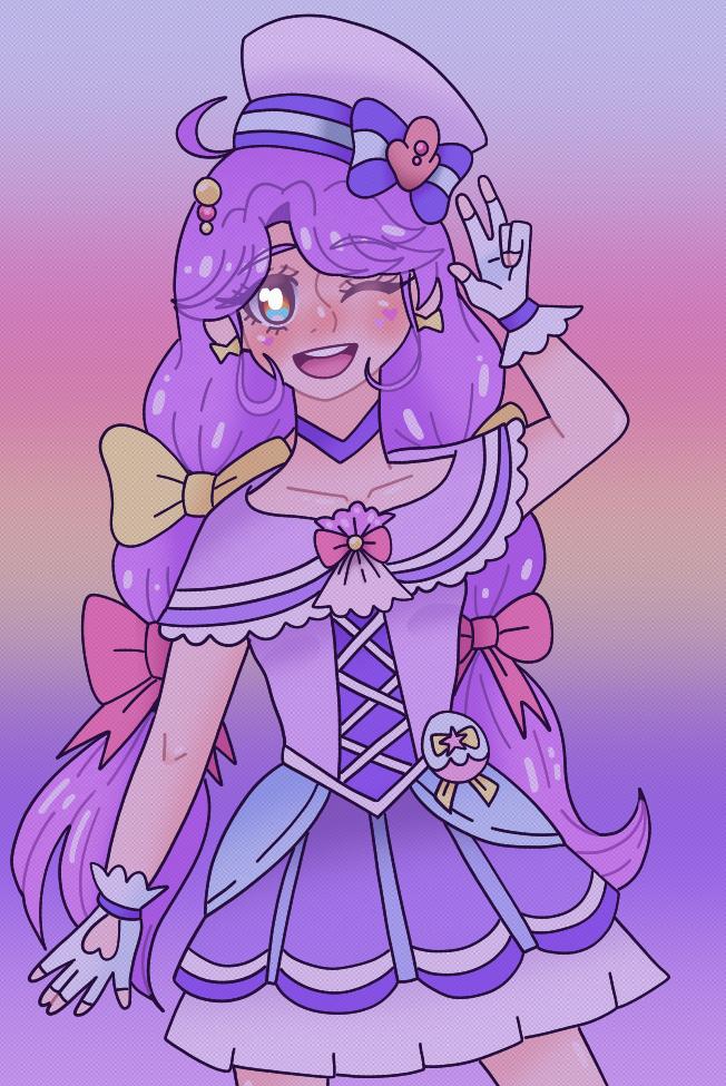 Sango Suzumura - Cure Coral (涼村さんご - キュアコーラル) Illust of Mikey-kun 2.0 purple TropicalRougePreCure fanart animeartstyle magicalgirl purplehair PrettyCure 涼村さんご Fingerpaint animegirl