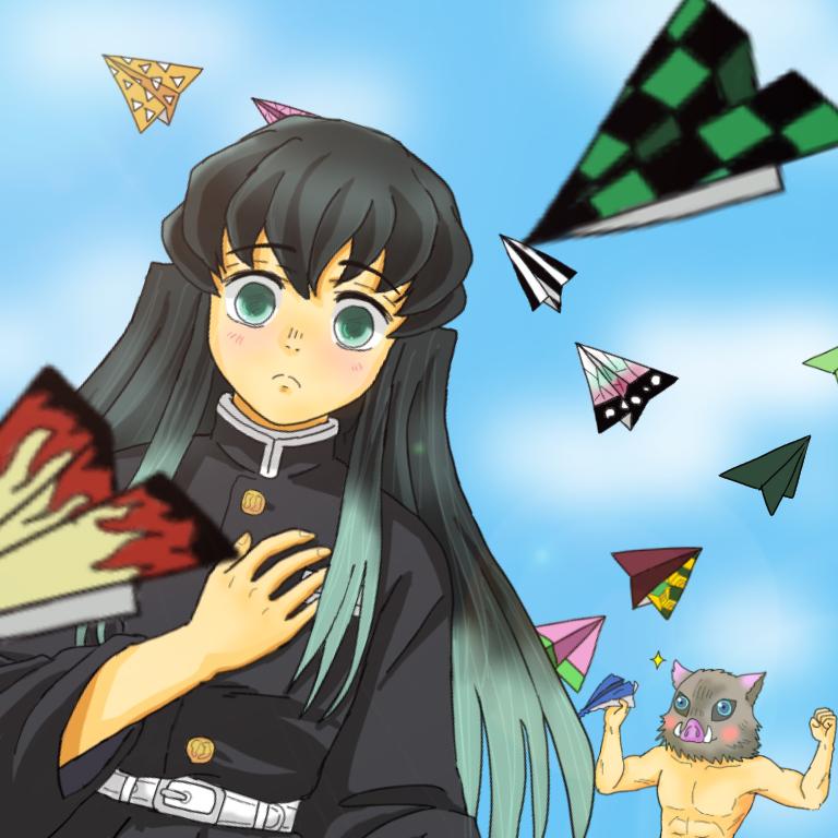 誕生日おめでとう 無一郎 Illust of ちょこ DemonSlayerFanartContest KimetsunoYaiba 紙飛行機 柱 TokitouMuichirou 誕生日イラスト 霞柱 鬼殺隊