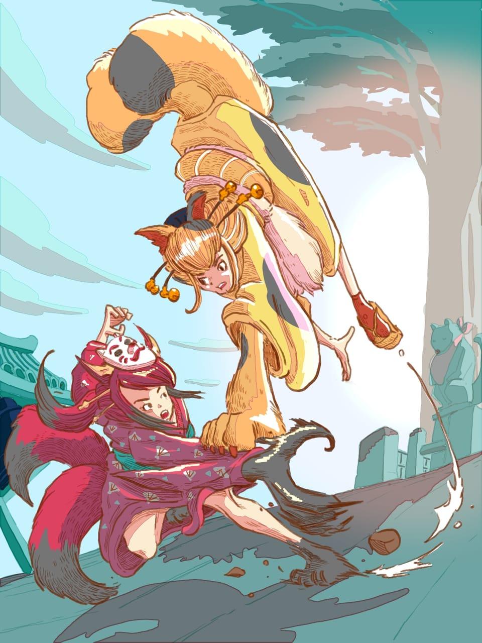 Fighting of cat demon and fox demon Illust of Wutikai action January2021_Contest:OC February2021_Fantasy youkai scenery demon oc girl cat Japanese_style fight kimono