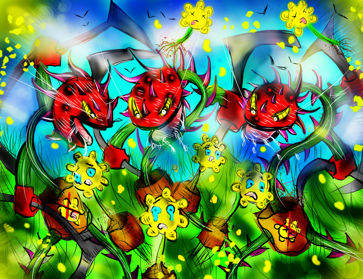 Escape from the garden!!! Illust of AcP April2021_Flower
