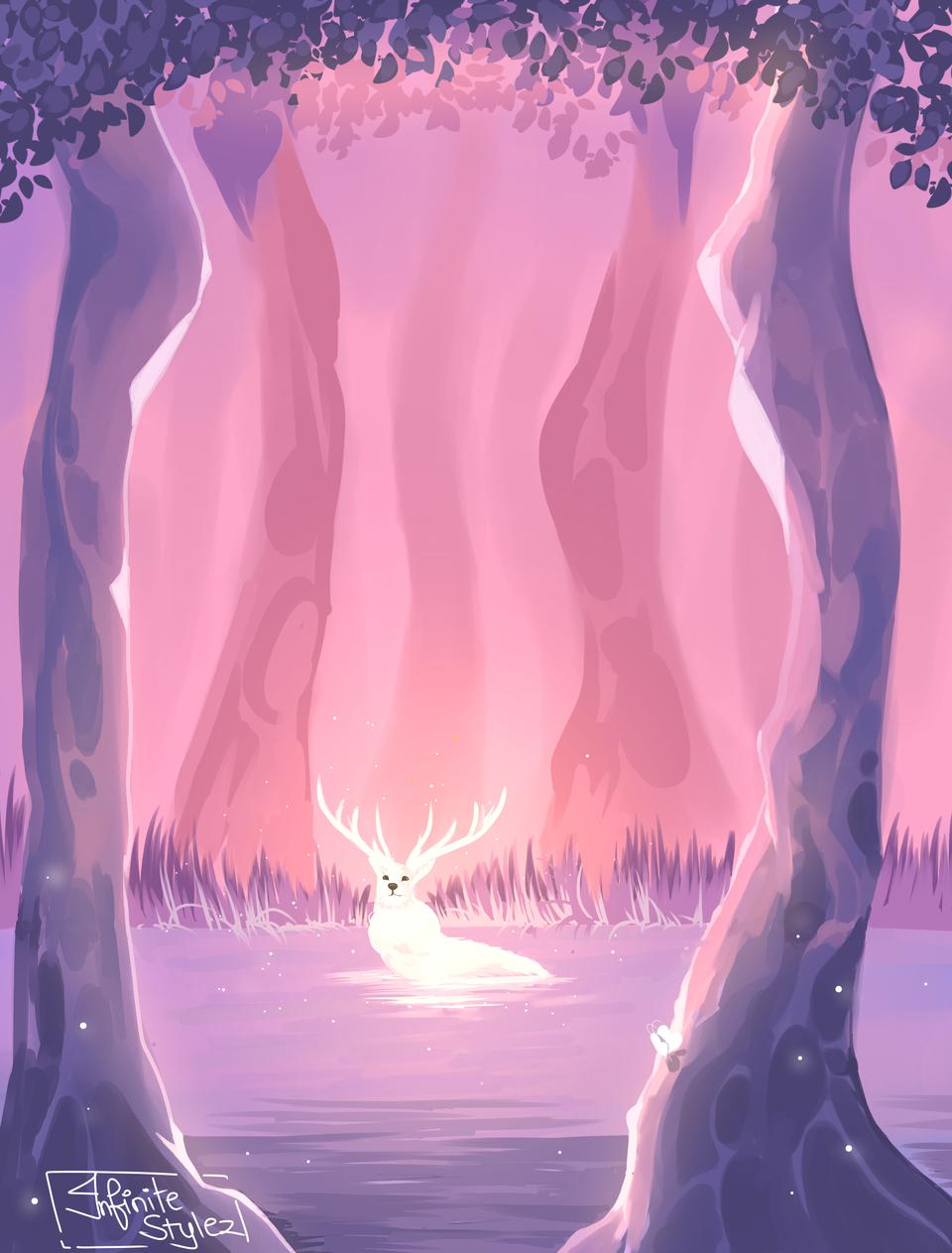 rein der Illust of Infinite stylez medibangpaint butterfly goodquality forest raindeer fireflies soft infinitestylez smooth trees