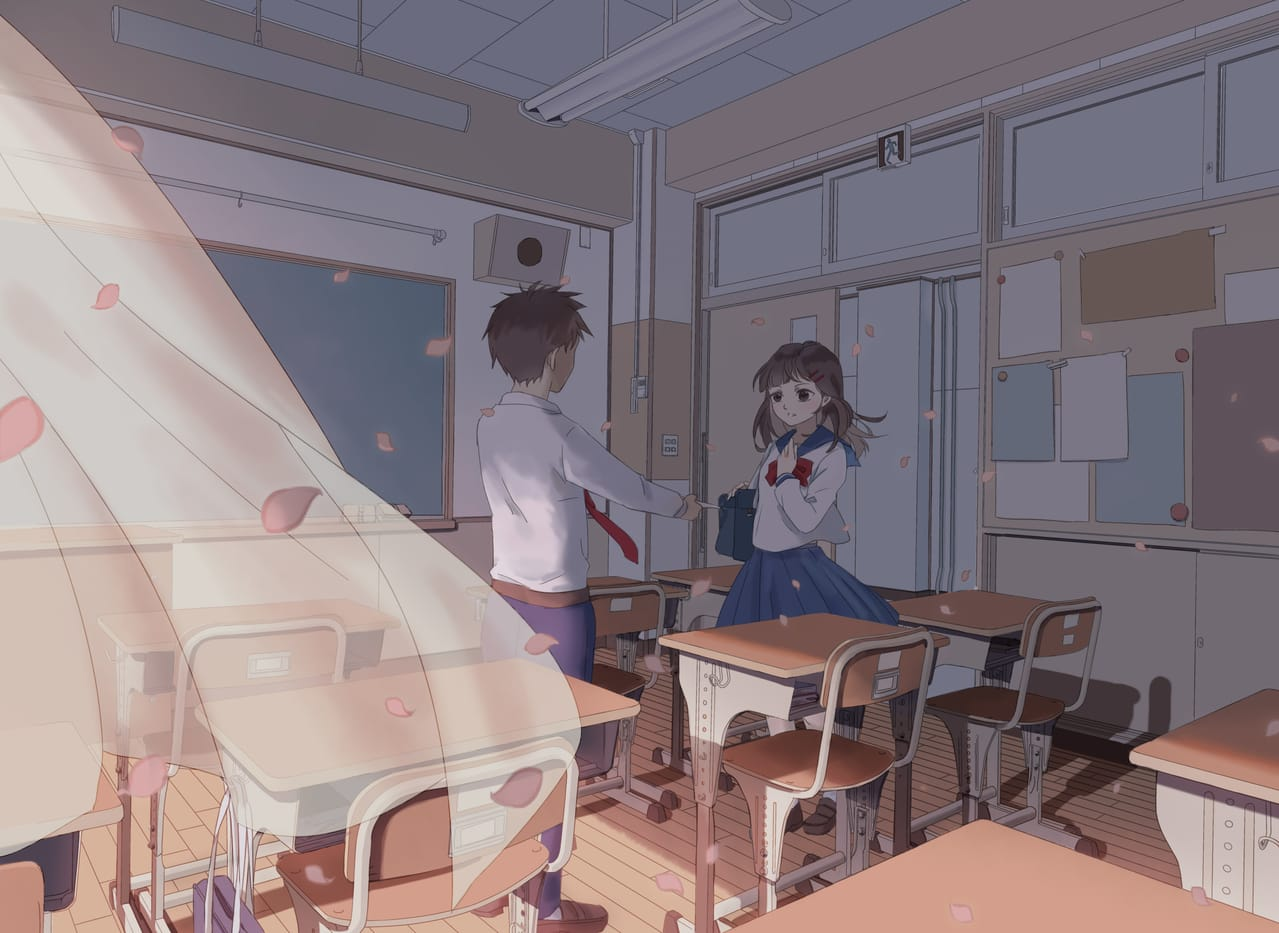 告白 Illust of 米米 Background_Image_Contest BackgroundImageContest_Using_Division original girl 教室 学生 告白
