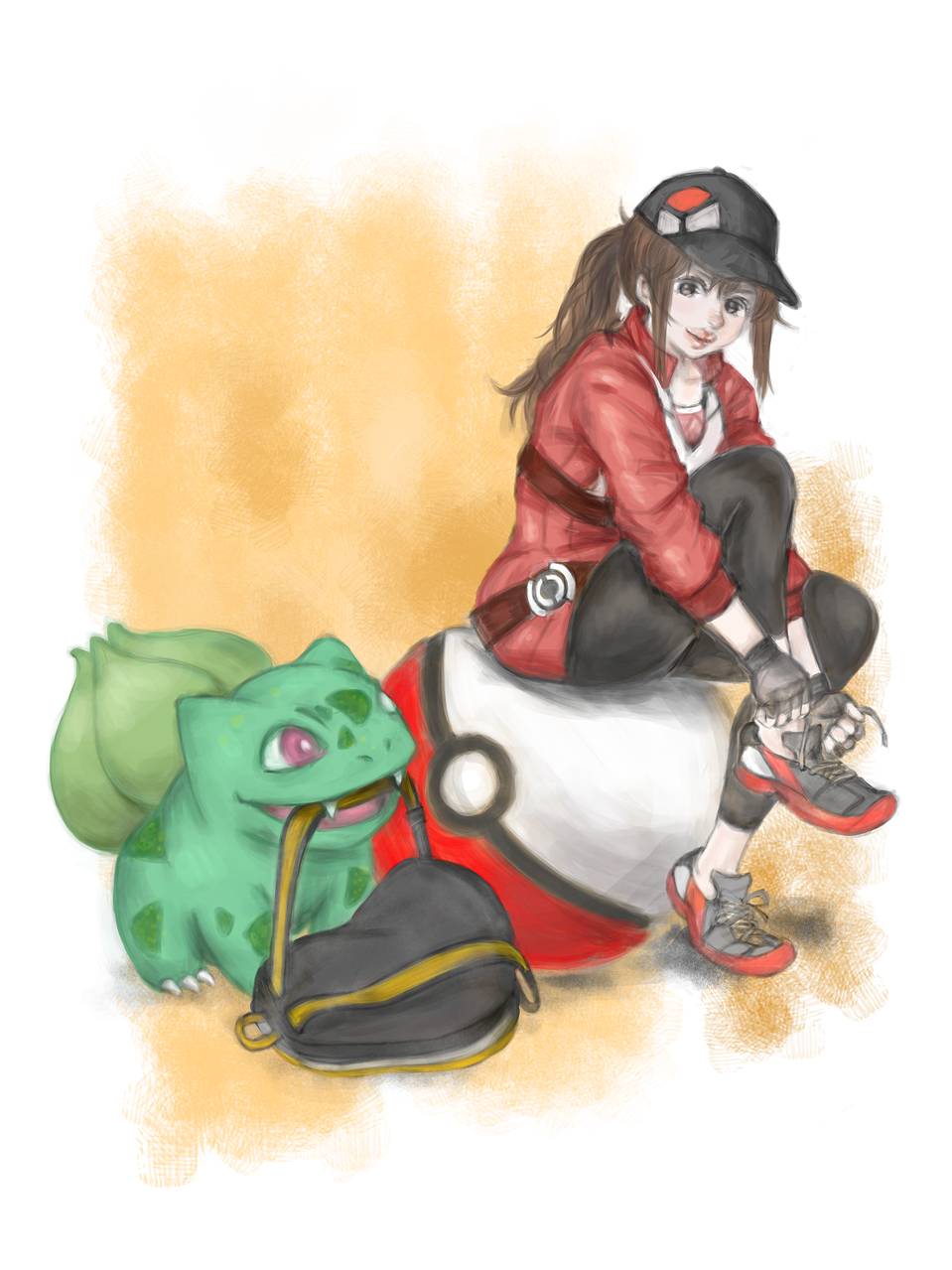 a trainer girl with her bulbasaur