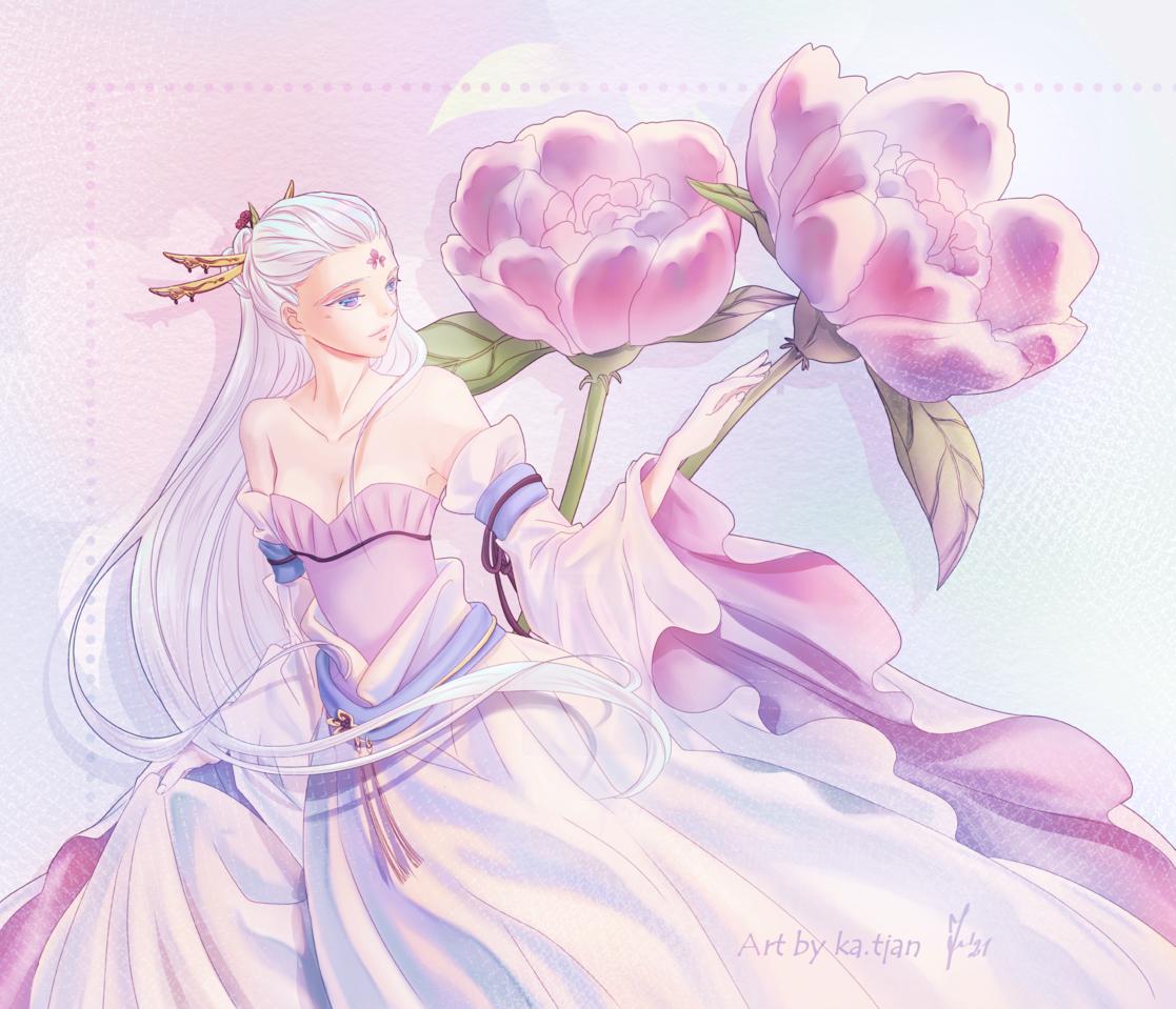 Flower maiden Illust of ka.tjan April2021_Flower kawaii flowers oc fantasyart flower anime purple