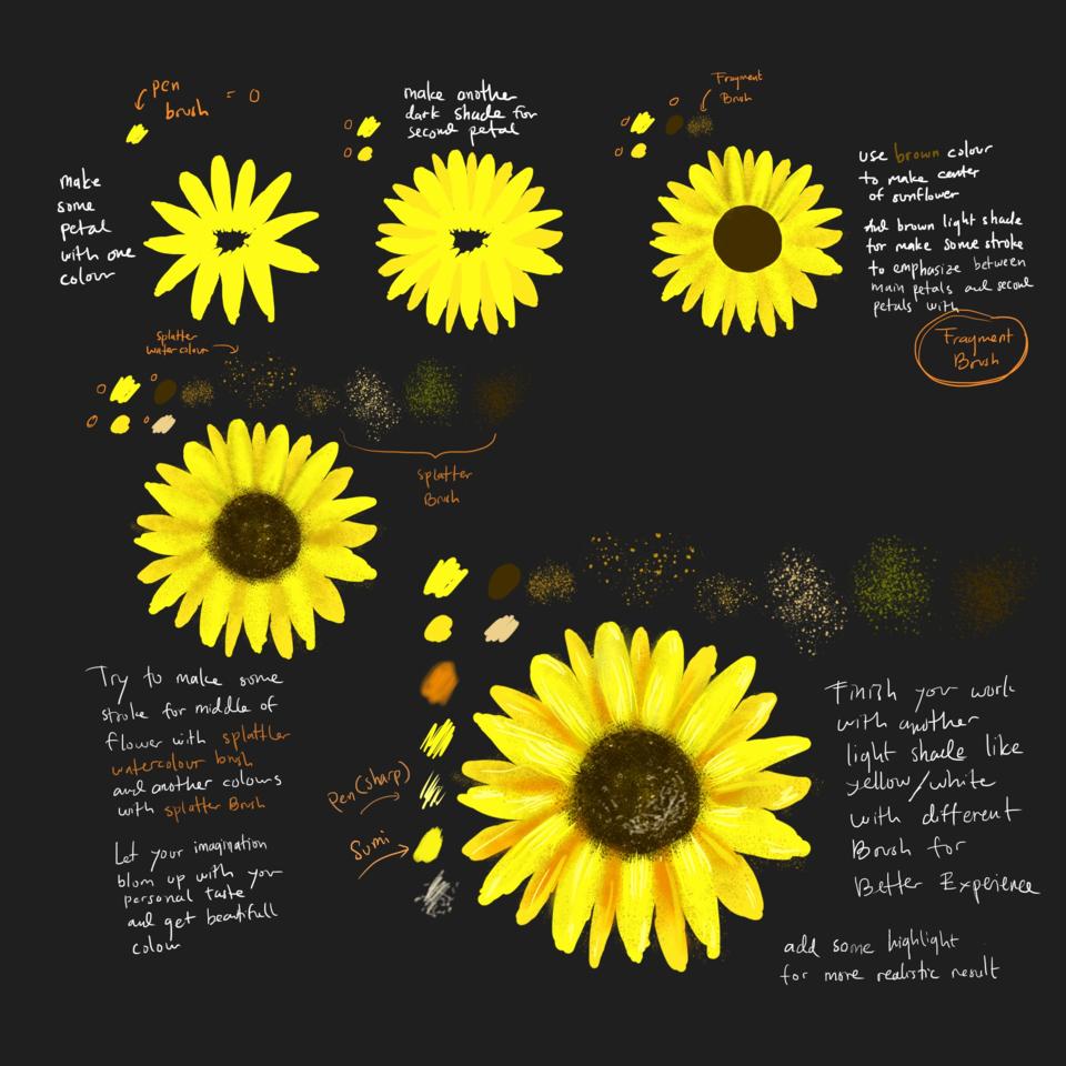 Sunflower (painting tutorial) Illust of Andinatz medibangpaint