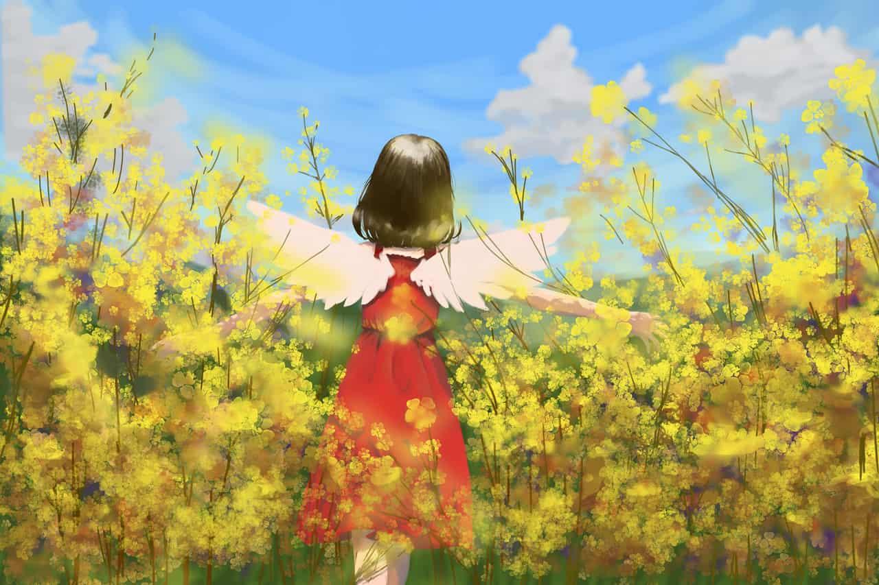 Girl in yellow field Illust of Pretty Princess 26