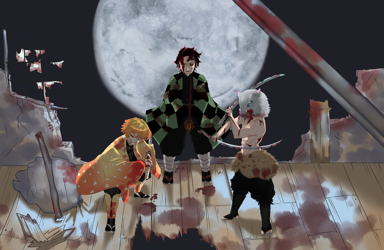 fight till the end Illust of seira DemonSlayerFanartContest AgatsumaZenitsu ruins HashibiraInosuke 3rd fullmoon KimetsunoYaiba JUMP's KamadoTanjirou Universal