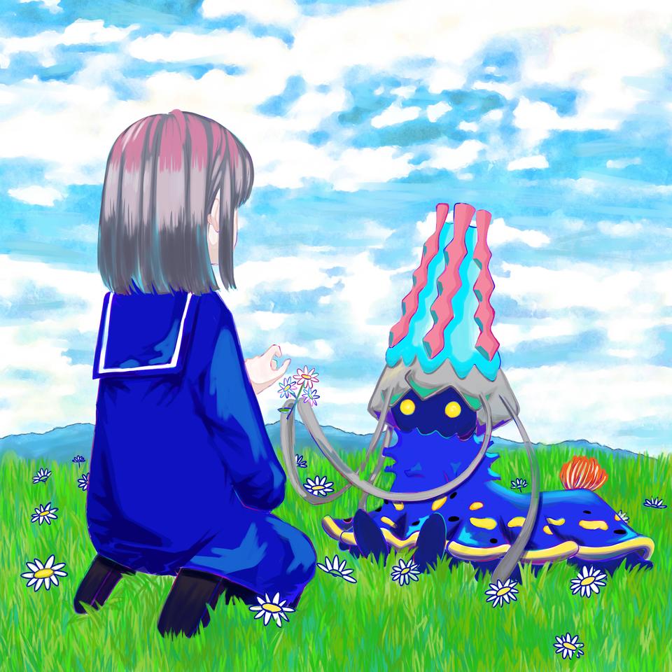 怪物と少女 Illust of ひな太 March2021_Creature original girl sailor_uniform 人外×少女 人外 pinkhair medibangpaint