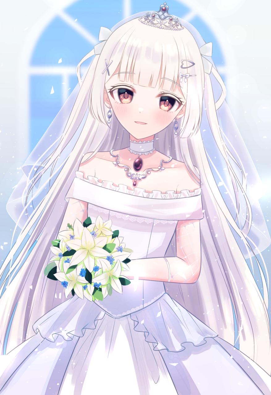 少しだけ、未来の花嫁 Illust of じゅにねう 花嫁 girl ツーサイドアップ white_hair original ジューンブライド