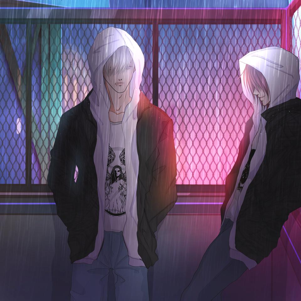 ペアルック Illust of TERRA ARTstreet_Ranking 兄弟 フェンス 夜景 ペアルック rain hoodie 双子 ボディピアス フード