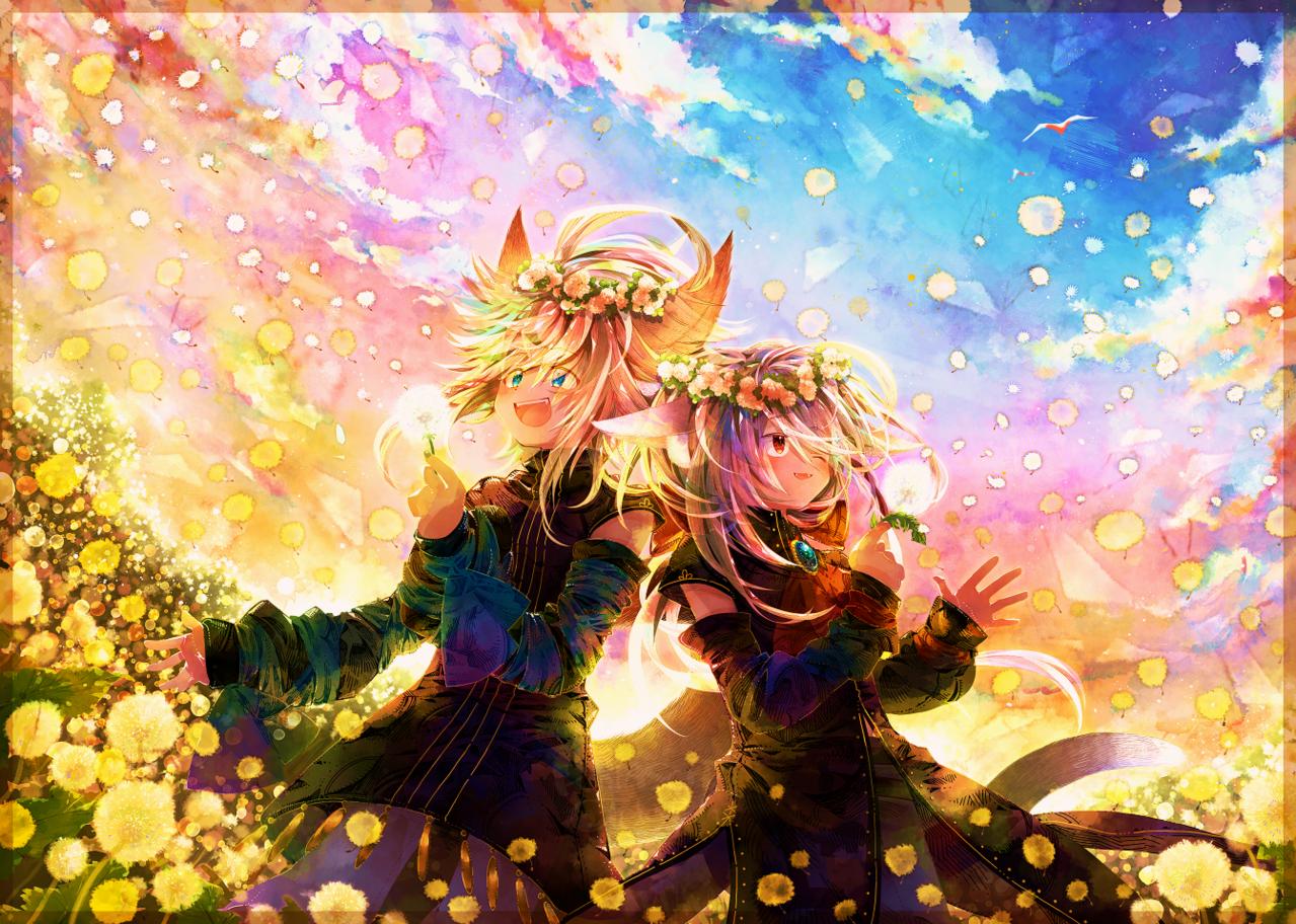 🌸 Illust of 荻灯 April2021_Flower boy 一次創作 オリジナル創作 cat_ears