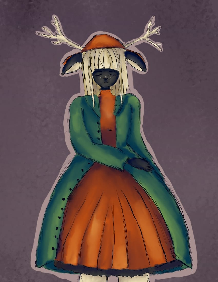 Willow OC Illust of OneLunarKitty June2021_Anthropomorphism dress girl deer oc