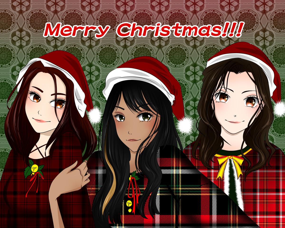 Merry Christmas!!! Illust of VioletHoshimi December2020_Contest:Santa kawaii Santa cute friend winter Christmas red Fingerpaint cutegirl friendship