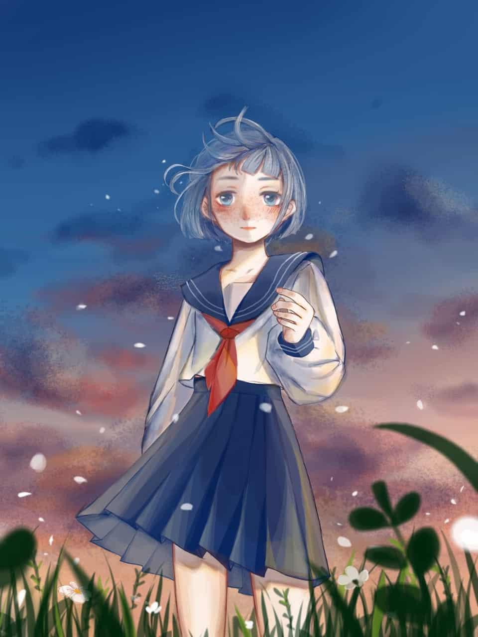 a... Illust of 小夏子 April.2020Contest:Color ARTstreet_Ranking illustration 女子高生 original girl sailor_uniform