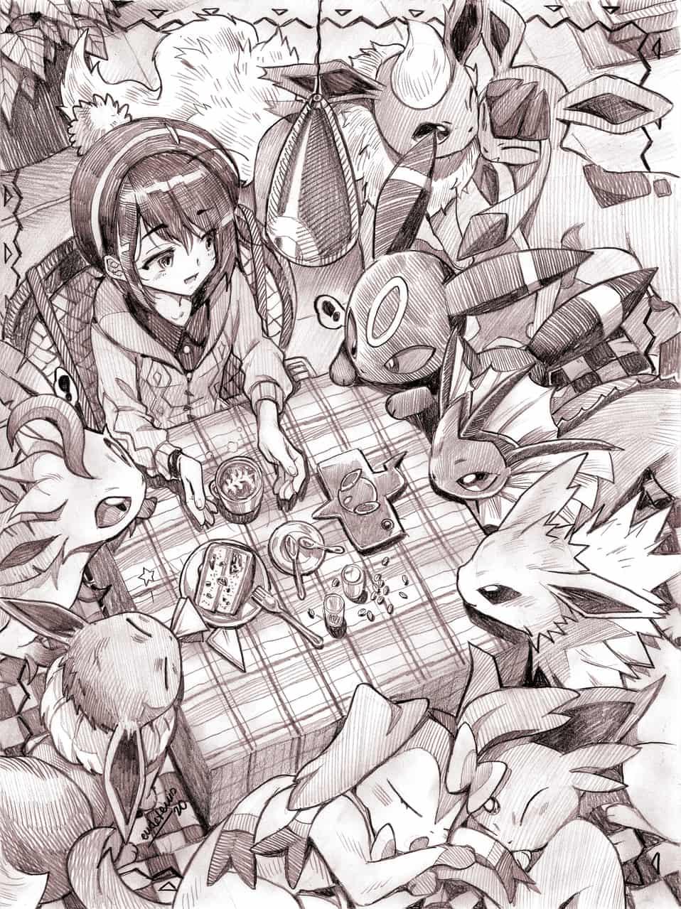 ケーキタイム Illust of EUDETENIS ARTstreet_Ranking Vaporeon リーフィア pokemon グレイシア Umbreon cake Eevee Flareon エーフィ Jolteon