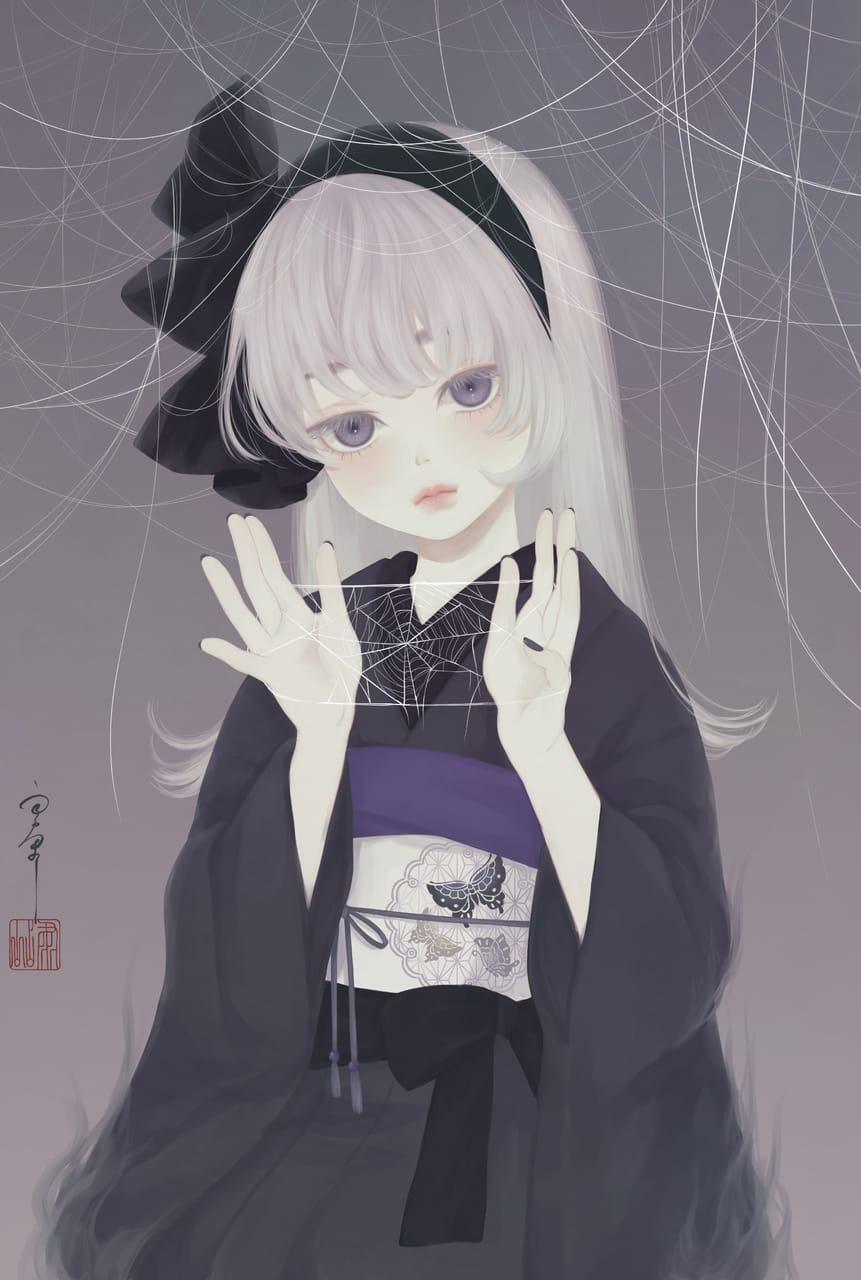 いととりあそび Illust of 丑山 銀髪 kimono spider girl