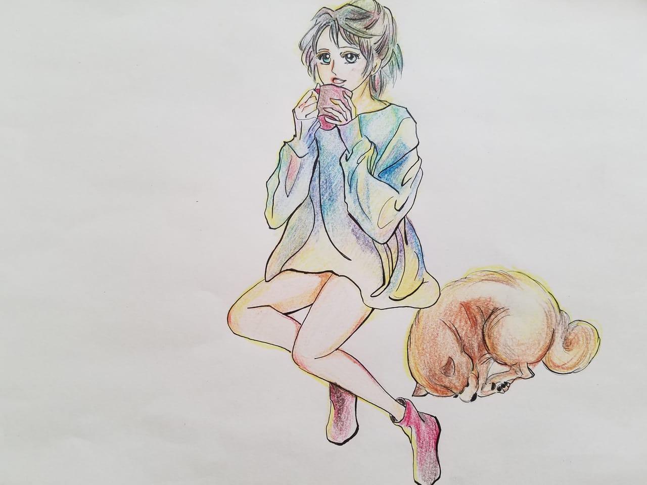 オリジナル その2 Illust of おかかうめ アナログ coloredpencil practice sketch dog girl oc doodle