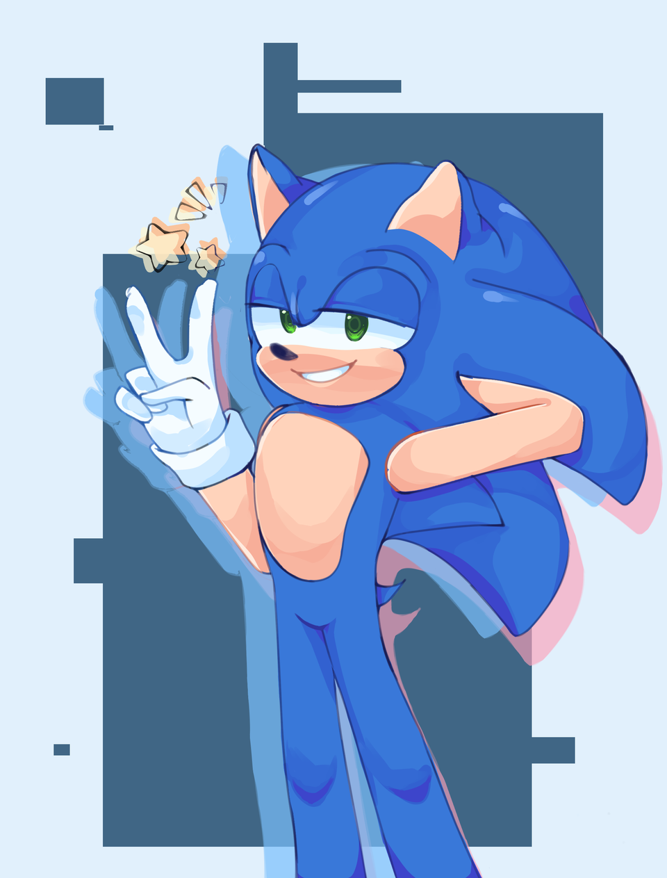 Oop- forgot to post lol. Here, have a happy boi Illust of Infinite stylez medibangpaint cool blue infinitestylez sega ihwfuw Sonic