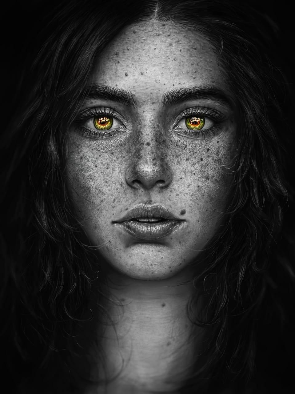 Imagination Illust of llorddd January2021_Contest:OC oc realistic girl eyes blackandwhite semirealism