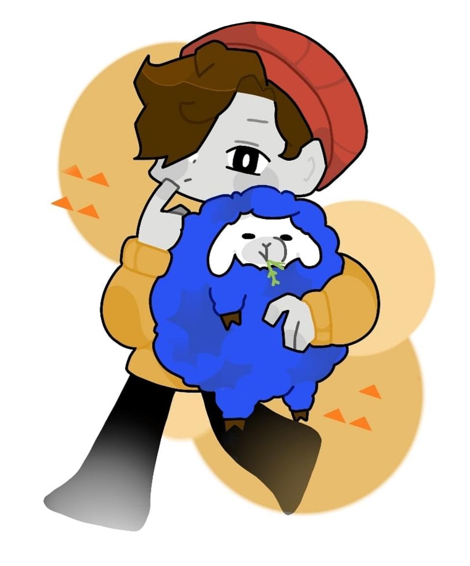 cute Ghostbur with Friend Illust of Demon KID medibangpaint cute Minecraft WilburSoot YouTube blue mcyt sheep