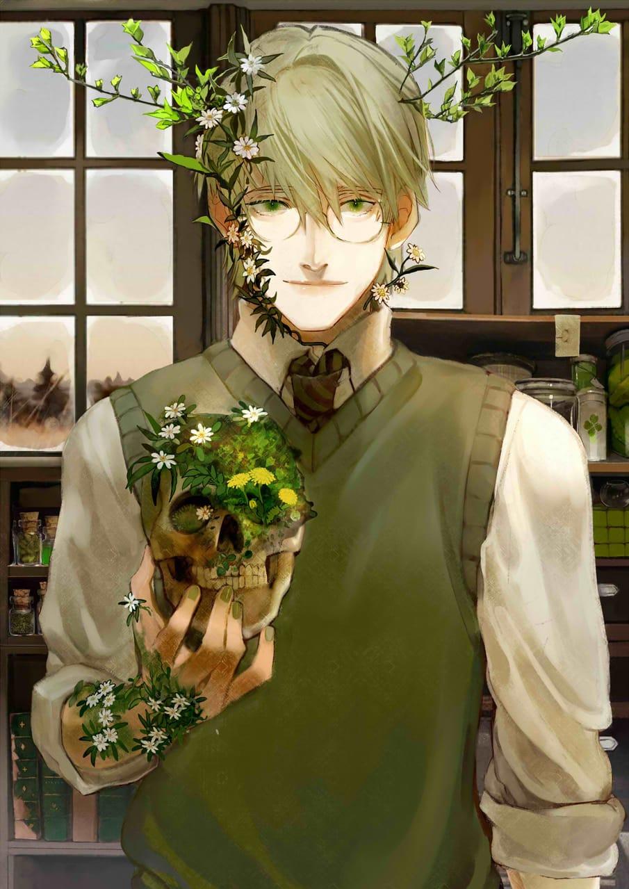 花咲病の青年 Illust of Ixxan :) February2021_Fantasy 花咲病 植物 illustration 魔法 ファンタジーキャラ flower boy glasses oc