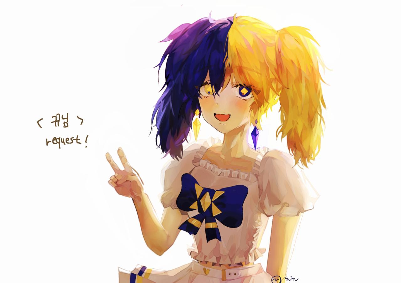 2차 리퀘 당첨자발표 Illust of 롤롤 original girl 롤롤 medibangpaint request flower