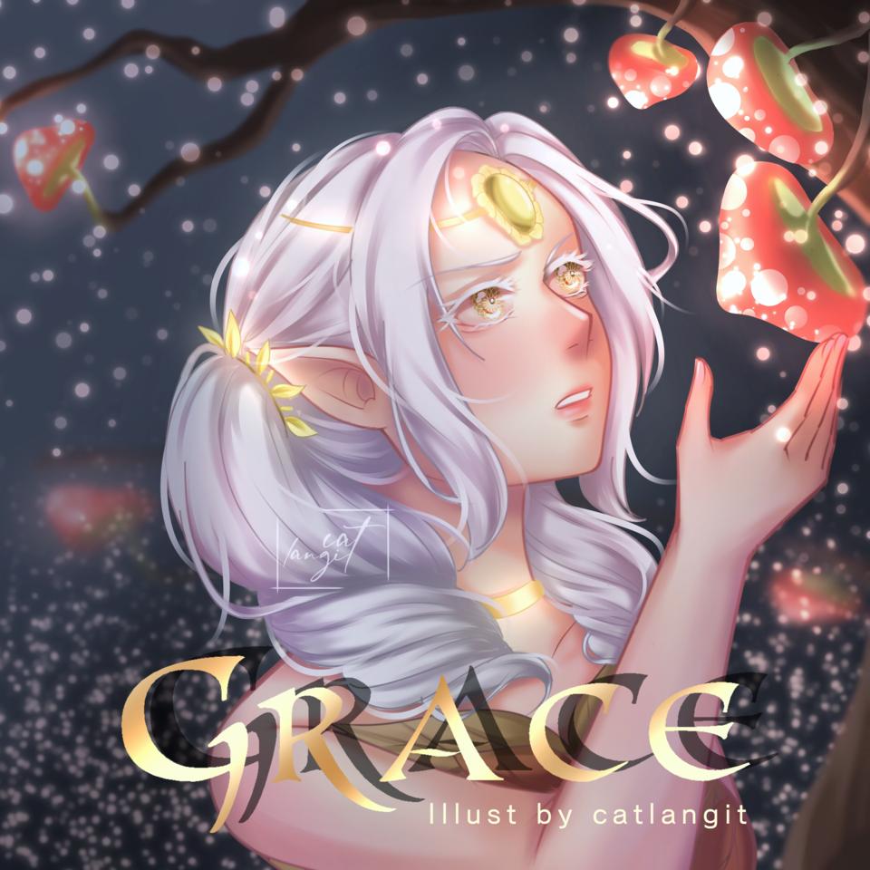 Grace Illust of catlangit fantasy glasses illustration aesthetic medibangpaint art sketch classic bookcover elf magic